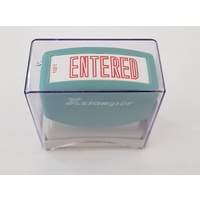 Stamp Pre-inked ENTERED in Red Xstamper 1021 - each