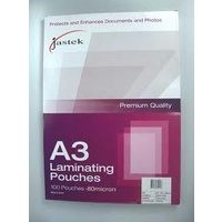 Laminating Pouch A3  80 micron pack 100 0309250 Jastek