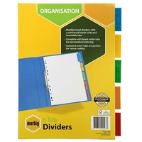 Dividers A4 5 Tab Manilla Insertable White 37640 set 5 Marbig