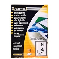 Laminating Pouch 64x99mm 175 Micron Pack 100 Fellowes 53078 Glossy