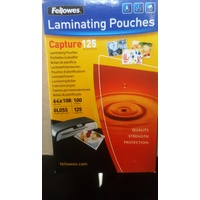 Laminating Pouch 64x108mm 125 Micron Pack 100 Gloss Finish 53090 Fellowes