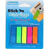 Stick On Flags 12x45mm 5 Pads x25 Sheets Assorted Beautone 15600