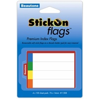 Stick On Flags Beautone 14x76mm 4 x 100 Sheets 11508