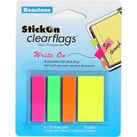 Stick On Flags Various Sizes 4 Pads x 25 Sheets Neon Assorted 15603 Semi transparent film