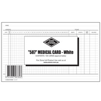 Medical System Card Zions 587 White 8x5 125mm x 200mm 587W