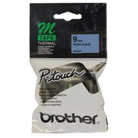 M-K521 P-touch 9mm Black on Blue Brother MK521 Tapes - each