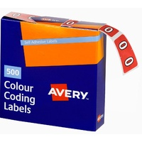 Labels Side Tab NUMBER # 0 box 500 Avery 43240 25x38mm Colour Coding
