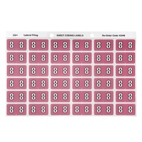 Labels Side Tab NUMBER #8 box 180 Avery 43348 25x38mm Colour Coding