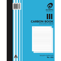 Carbon Book 250x200mm Ruled 100 Leaf Olympic 606 Duplicate Each 140853