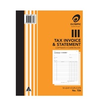 Invoice Statement Books 10x8 726 Duplicate Carbonless 07792 - each