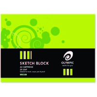 Sketch Blocks A4 Olympic 70 25 Leaf pads with cover plain paper cartridge 140894 09037 tudor