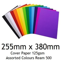 Cover Paper 255mm x 380mm 125gsm Asst Colours Ream 500