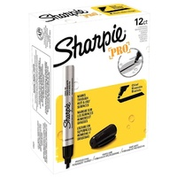 Marker Sharpie Pro Metal Aluminium Chisel Black Box 12