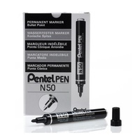 Markers Pentel N50A Perm Bullet Point Black Box 12