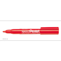 Markers Pentel NN50B Perm Bullet tip RED box 12