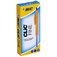 Pen Bic Clic Fine Blue 0411 box 10 Retractable 922627