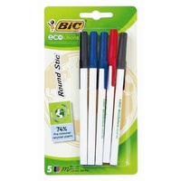 Pen Bic Ecolutions Round Stic 2x Black, 2x Blue 1x Red - pack 5