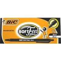 Pen Bic Soft Feel Retractable BallPoint Medium Black Bic 91435 - box 12