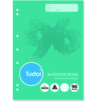 Binder Book A4  96 Page pack 10 8mm Ruled Tudor Refill 140964 B896