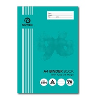Binder Book A4 8mm Ruled 96 Page Olympic 140832 - pack 10