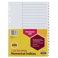 Dividers A4 Indices PP 1 to 20 35131 White Marbig