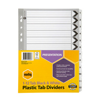 Dividers A4 Manilla Board 1 to 12 Reinforced Tab Black/White 35119F Marbig