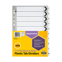 Dividers A4 Marbig Manilla Board 1 to 10 Reinforced Tab 35117F Black/White