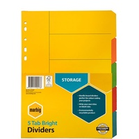 Dividers Marbig 37100 Manilla Bright A4 5 Tab Multi colour  - set