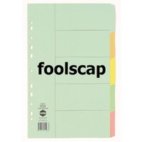Dividers FC Marbig Manilla 5 Tab 37005B Multi Coloured Tabs foolscap
