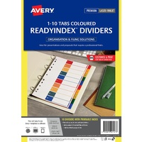 Printable Dividers 1-10 Tab L7411-10PP Laser Inkjet ReadyIndex 920147 Avery A4 Polyprop