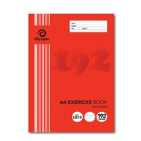 Exercise Books A4 8mm Ruled 192 Page Pack 10 E819 red margin Olympic 140755 00419