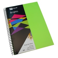 Visual Art Diary  A4 White page 60L bulk discounts 110gsm 120 pages Quill Brights Lime Green
