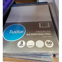 Pads Office Executive A4 50 Leaf 5mm Grid Pack 3 White 210x297mm 141055 Tudor
