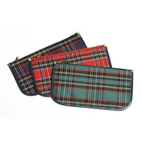 Pencil Case Marbig Tartan Jumbo 1 Zip 340 x 170mm 974411 Pack 12