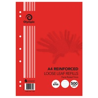 Loose leaf Refills A4 500s Olympic 7mm Ruled Reinforced 141422 - pack 500