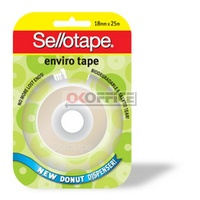 Tape Enviro Sellotape Donut 18mm x 25M On Dispenser 960799 - pack 8