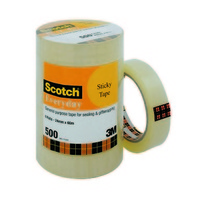 Packing Tape 3M Scotch 500 Everyday 24mm x 66mm Tower Bulk Pack of 6