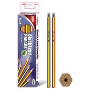 Pencil Rubber Tipped HB Pack 12 cheapest pencils that still work Deli