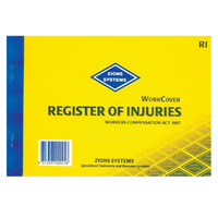 Register of Injury Book NSW Zions RI 25 leaves duplicate NSW