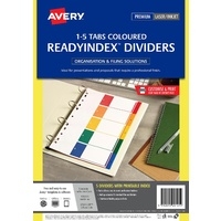 Dividers A4 5 TAB PP 1-5 Tab Printable L7411-5PP Laser Inkjet ReadyIndex 920145 Avery A4