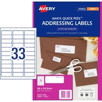 InkJet Labels 33up J8157 White Permanent Avery 936059 box 25 825 Labels / 25 Sheets 64x24.3mm