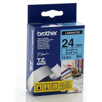 Brother TZe551 24mm x 8m BLACK on BLUE TZ-551 P-Touch - each