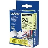 Brother TZ 24mm X 5M BLACK on FL.YELLOW TZ-C51 P-Touch - each