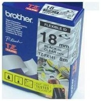 Brother TZFX141 18mm X 8m Black on Clear TZ-FX141 P-Touch