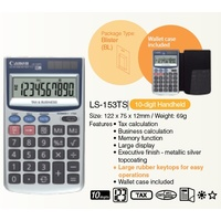 Calculator 10 Digit Canon LS153TS Dual Power LS-153TS handheld features such as tax and business functions.
