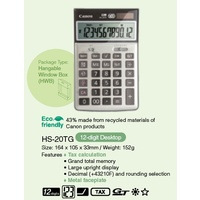 Calculator 12 digit Canon HS-20TG Desktop canon Dual Power recycled top and bottom