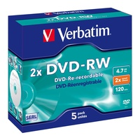 DVD-RW Minus Rewritable Verbatim 2X Speed 4.7GB 95044 Pack 5