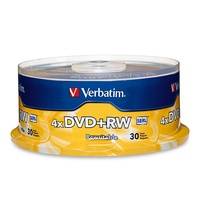 DVD+RW Plus Rewritable Verbatim (30) 4.7GB 4X Speed 94834 Spindle 30