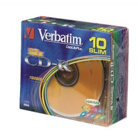 CD-R Recordable Verbatim Slimline 52X Speed 700MB 80min 94935 Pack 10