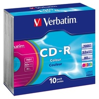CD-R Recordable Colour Slimcase 52x Speed 700MB 80min Verbatim 41849 Pack 10
